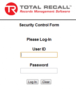 Total Recall Login Box